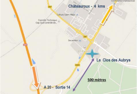 Le-Clos-des-Aubrys-chambres-hôtes-Plan-accès-Indre-Berry-Châteauroux